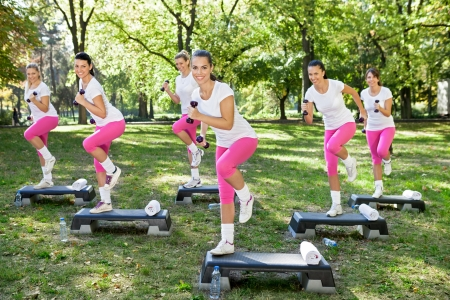 cardiovascular exercising:  Group of Fitness women exercises with dumbbell Stock Photo