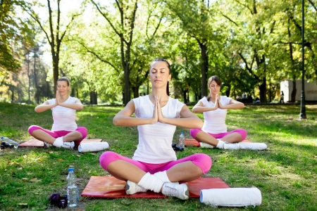 Meditation group,  women practicing yoga in park