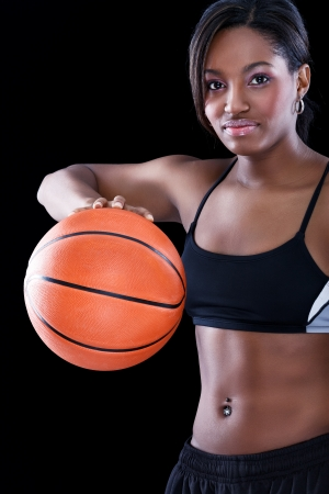 Young beautiful female basket ball player photo