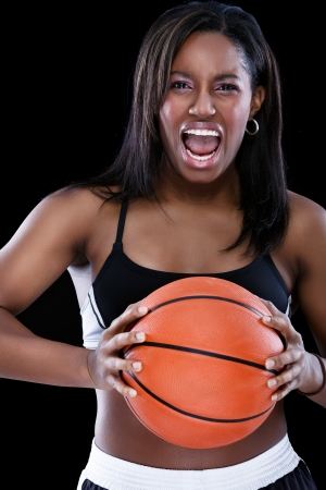 Young sporty black woman expression emotions with yelling photo