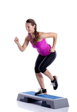aerobics class: woman exercising workout fitness aerobic exercise Stock Photo
