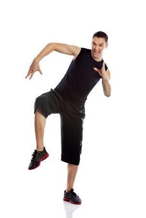 rhythm rhythmic: Zumba fitness man dancing isolated on white in full body