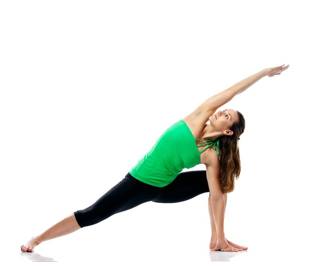 Attractive sporty girl stretching