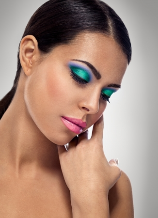closeup of beauty with colorful fashion makeup  photo