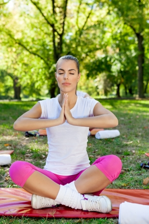 Meditation in the a park on a warm summer day Stock Photo - 21875956