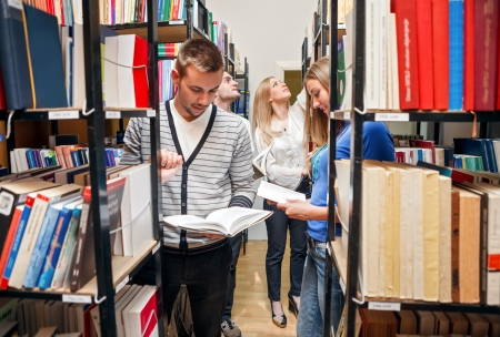 students: revising in library photo