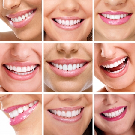 smiling: Smiling happy people with healthy teeth. Dental health. Collage.