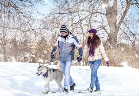 obligations: young couple walking his dog in a winter day Stock Photo