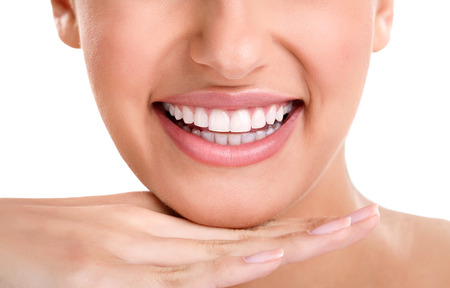dentition: Healthy woman teeth and smile. Close up.