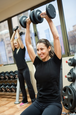woman lifting weights:  athlete woman exercise lifting weights at fitness gym