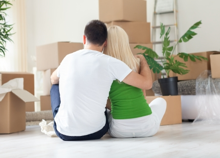 Moving House, couple resting Stock Photo