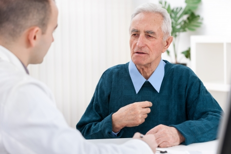to talk:  Senior man sits with his doctor and he complained of chest pain