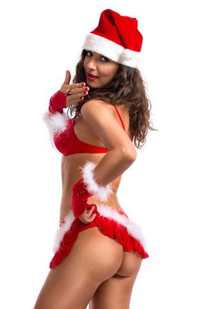 Lovely sexy santa girl in provocative clothing photo