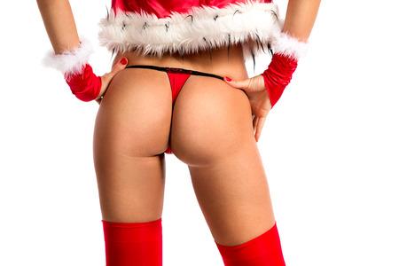 girls naked: Сексуальные ягодицы в рождественскую одежду Фото со стока