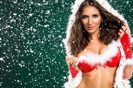 girl boobs:  Portrait of beautiful sexy girl in Santa clothes, merry Christmas concept  Stock Photo