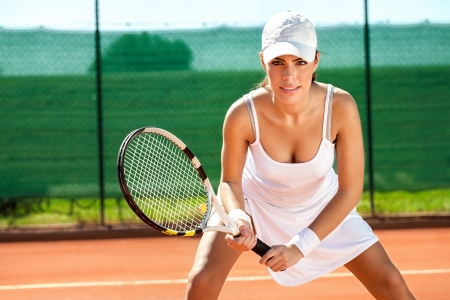 tennis player:  female tennis player waiting for a service Stock Photo
