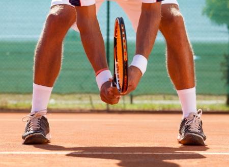 tennis player  waiting tennis ball