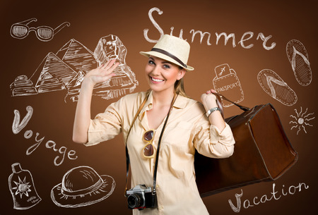 thinks: Happy tourist with hand drawn thinks for traveling  Stock Photo