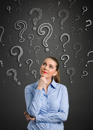 above head:  Beautiful woman with questioning expression and question marks above her head