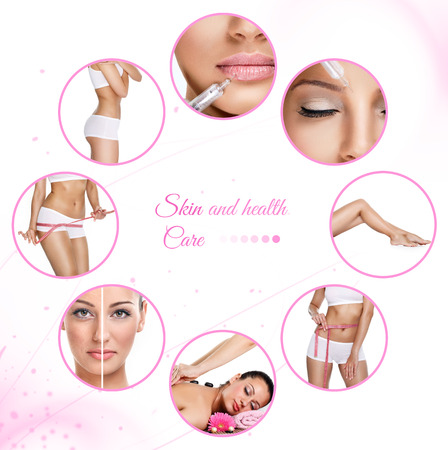 skin therapy, botox and massage as template photo