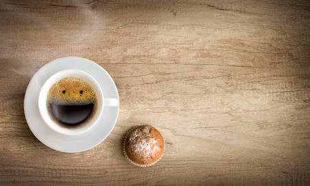 hedonism: happy morning cup of coffee with copy space Stock Photo