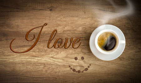 disappears: I love coffee concept