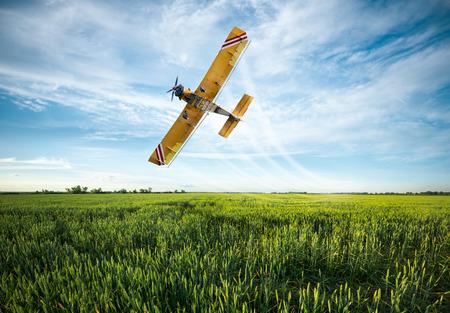 crop sprayer:  flying yellow plane sprayed crops in the field
