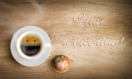 happy morning cup of coffee with note photo