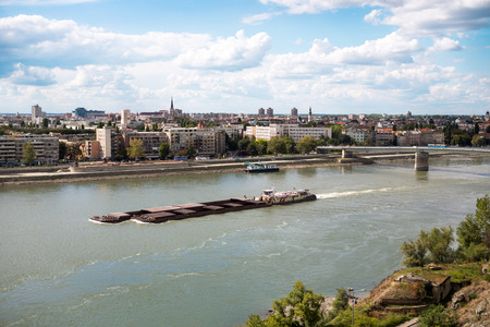 containership:  Containership or barge on the river