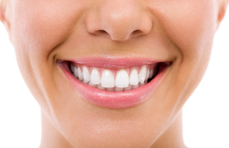 Woman smile, teeth whitening, dental care photo