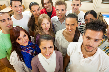Group of young students, top view Stock Photo
