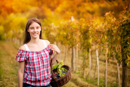 smiling young woman in vineyard photo