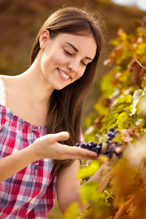 young female winemaker observing grapes in vineyard photo