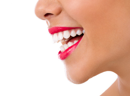 perfect teeth: female great smile with healthy teeth
