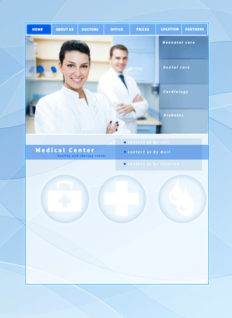 website template medical, health care theme - blue design with layout for a doctor, clinic, hospital, health care or pharmacy company photo