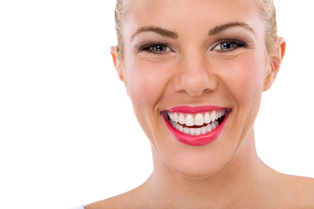 dentition: Happy woman with great smile, teeth whitening, dental care