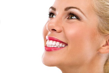 tooth care: Smiling woman mouth with great teeth Stock Photo