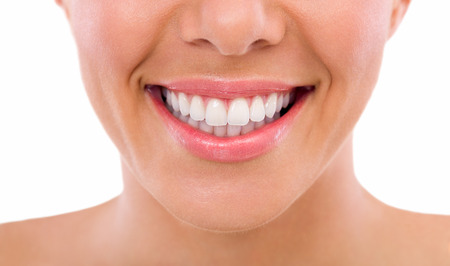 smile close up: Healthy woman teeth and smile, close up