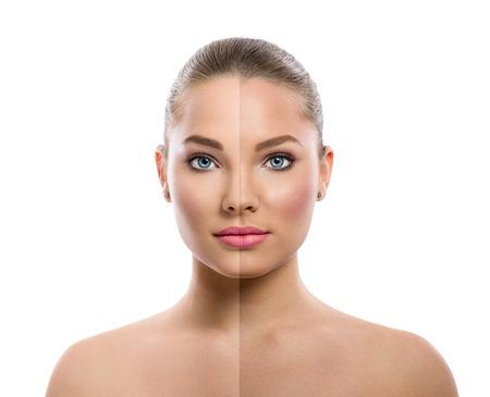 mooie jonge vrouw op een witte achtergrond, beauty concept, tan voor en na, gezicht verdeeld in twee delen, gelooid en natuurlijke
