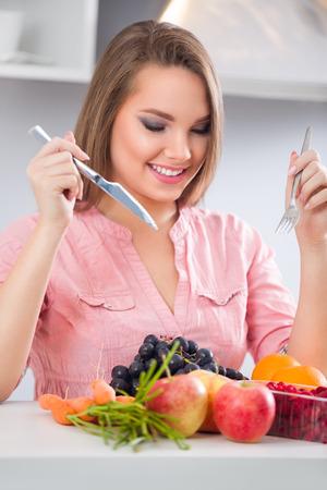heathy: Woman eating heathy fruits  breakfast Stock Photo