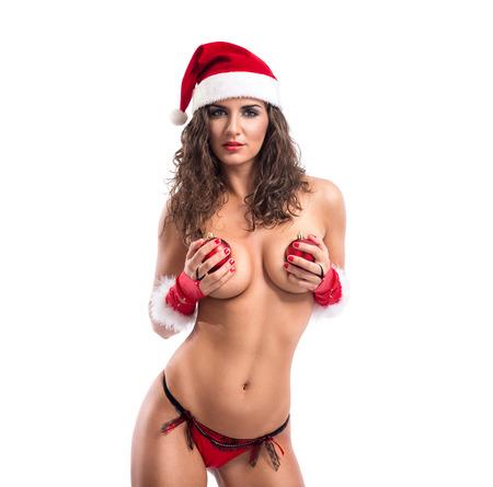 Sensual sexy woman with santa hat and Christmas balls Stock Photo