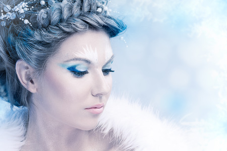 Portrait of woman with winter make up photo