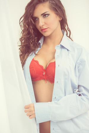nude women: Attractive woman wearing red bra Stock Photo