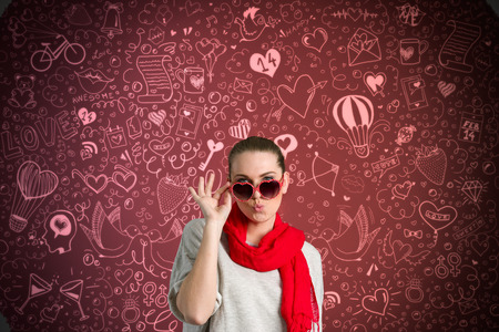 Funny beautiful woman over drawing valentine's background photo