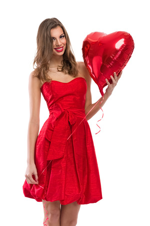 anniversary sexy: Young beautiful woman with Valentines heart