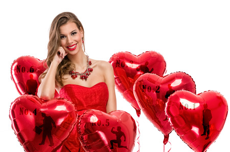 anniversary sexy: beautiful young woman with a heart-shaped balloons Stock Photo