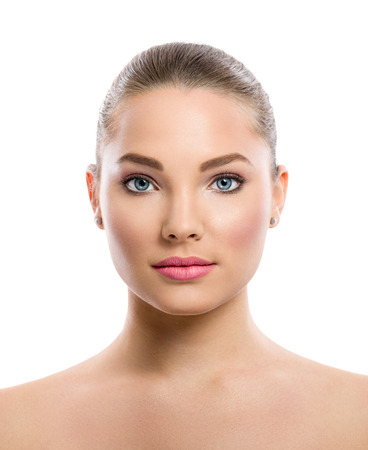 beautiful young woman on a white background, beauty concept, tan before and after, face divided in two parts, tanned and natural photo
