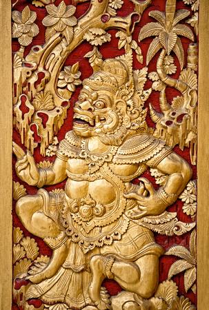 balinese: Traditional ornate golden Balinese temple door, Indonesia