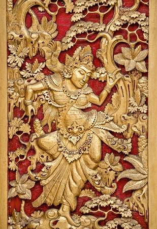 looked: ornament on the door of the temple in Bali,  Indonesia Stock Photo