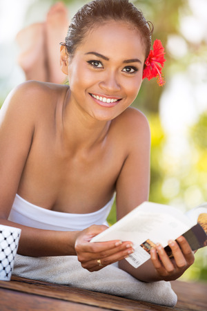 balinese: Cheerful woman with book, Balinese woman relaxing